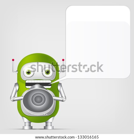 Cartoon Character Cute Robot on Grey Gradient Background. Speaker. Vector EPS 10. - stock vector