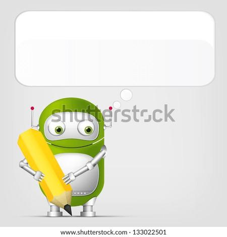Cartoon Character Cute Robot on Grey Gradient Background. Writer. Vector EPS 10. - stock vector