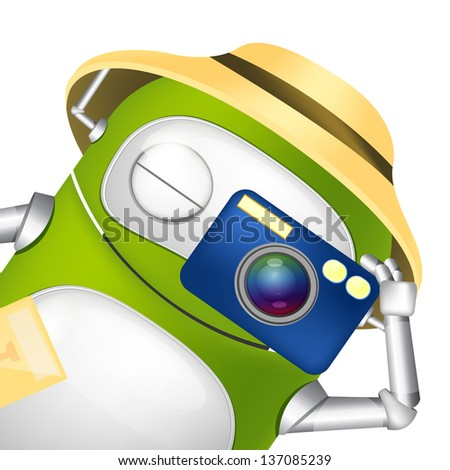 Cartoon Character Cute Robot. Tourist Photographer. Vector EPS 10. - stock vector