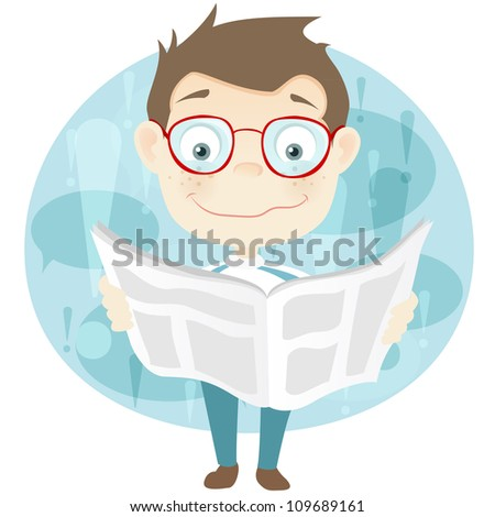 Cartoon Character Cute Teenager Isolated on White Background. News. Vector EPS 10. - stock vector