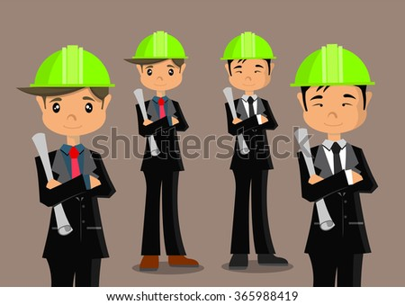 Cartoon character, engineer and african engineer, vector eps10 - stock vector