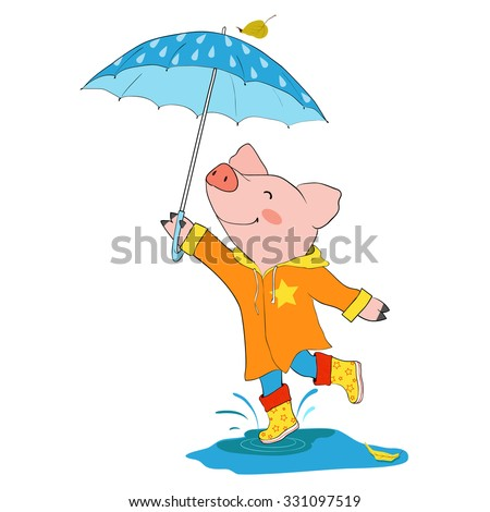 Cartoon character for card / notebook / phone / diary / school accessory / T-shirt design, children's book illustration. One of a set: cute pet - whole year. Autumn. Pig jumping in a puddle.