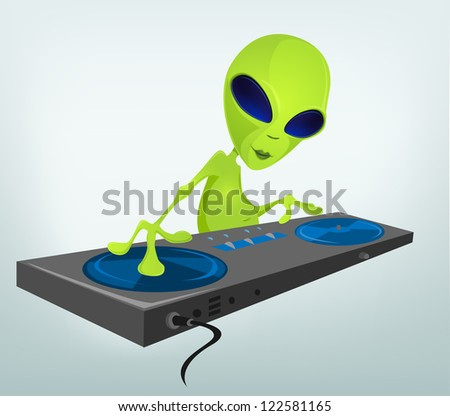 Cartoon Character Funny Alien Isolated on Grey Gradient Background. DJ. Vector EPS 10.