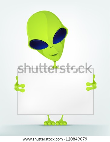 Cartoon Character Funny Alien Isolated on Grey Gradient Background. Look Out. Vector EPS 10. - stock vector