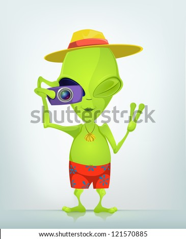 Cartoon Character Funny Alien Isolated on Grey Gradient Background. Tourist Photographer. Vector EPS 10. - stock vector