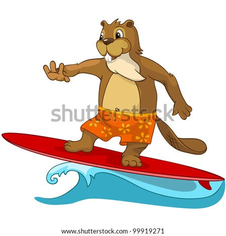 Cartoon Character Funny Beaver Isolated on White Background. Vector - stock vector