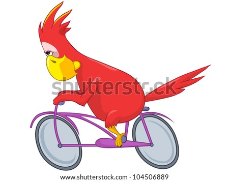 Cartoon Character Funny Parrot Isolated on White Background. Biker. Vector EPS 10. - stock vector