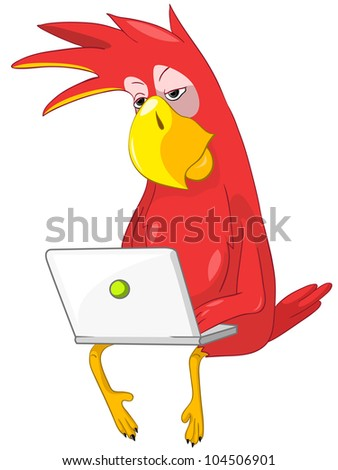 Cartoon Character Funny Parrot Isolated on White Background. Coder. Vector EPS 10.