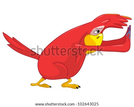 Cartoon Character Funny Parrot Isolated on White Background. Pushing. Vector EPS 10. - stock vector