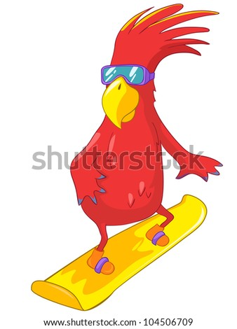 Cartoon Character Funny Parrot Isolated on White Background. Snowboarding. Vector EPS 10. - stock vector