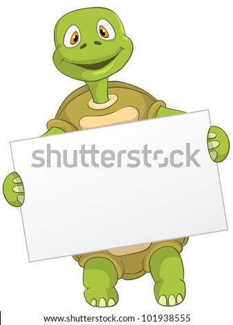 Cartoon Character Funny Turtle Isolated on White Background. Look Out. Vector EPS 10. - stock vector