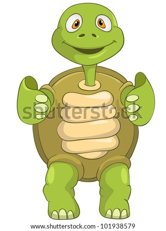 Cartoon Character Funny Turtle Isolated on White Background. Vector EPS 10. - stock vector