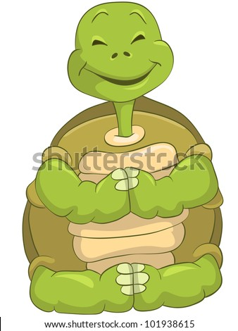 Cartoon Character Funny Turtle Isolated on White Background. Yoga. Vector EPS 10. - stock vector