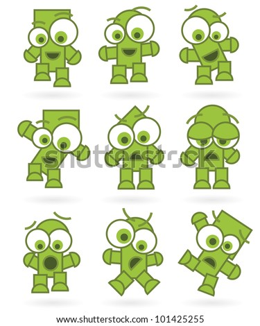 Cartoon Character Green Monsters or Robots Set with positive and negative emotions and poses isolated on white background, vector image. - stock vector