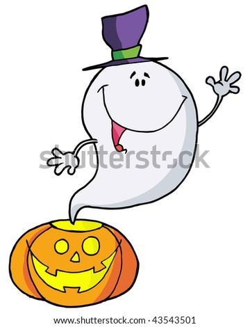 Cartoon character happy ghost pumpkin leaves - stock vector