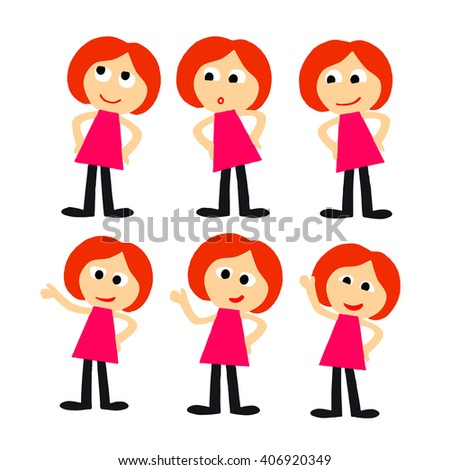 Cartoon character in various poses and emotions. A girl student of a student in a red dress - stock vector