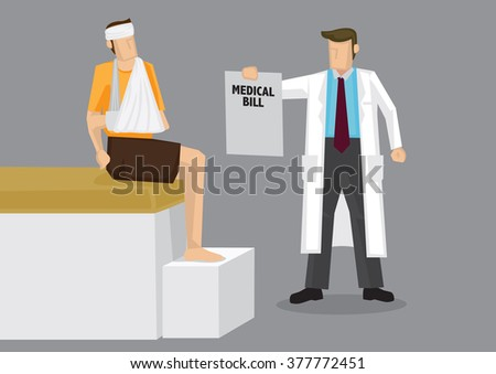 Cartoon character in white robe as health care provider handing bandaged man a huge medical bill. Vector illustration on medical cost concept isolated on grey background. - stock vector