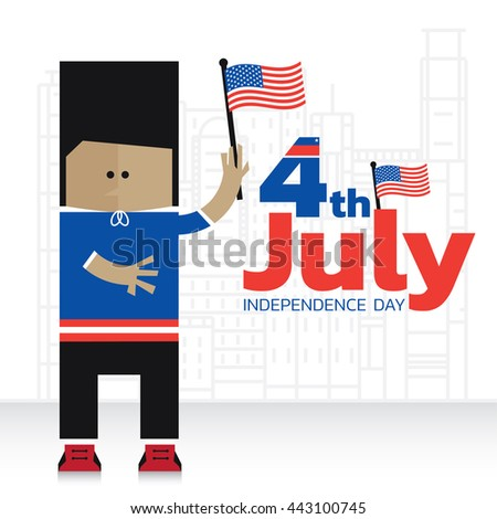 Cartoon character. Independence day concept.
