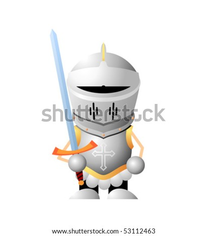 Cartoon character knight with sword - stock vector