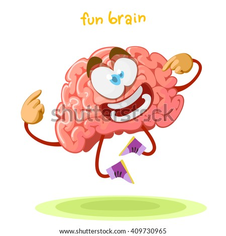 cartoon character mascot brain happily jumping on a green meadow - stock vector
