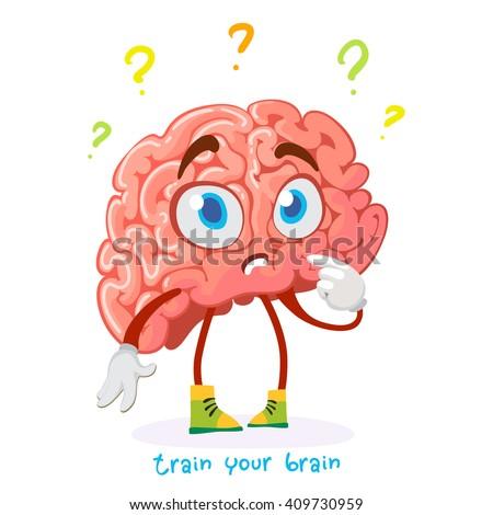 cartoon character mascot brain puzzled question - stock vector