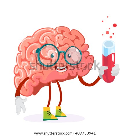 cartoon character mascot of the brain in glasses holding a test tube with red liquid - stock vector
