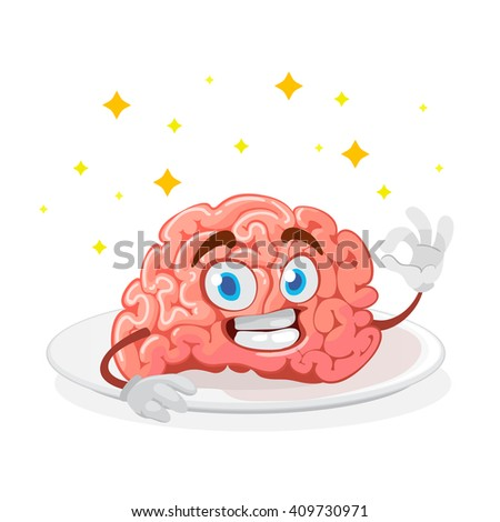 cartoon character mascot of the brain lies on a white plate and showing sign of okay - stock vector