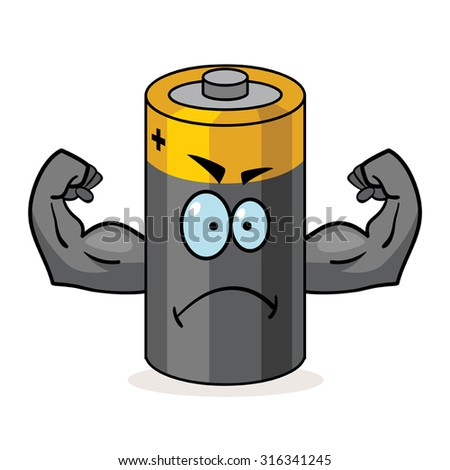 Cartoon character of a battery with muscular arms - stock vector