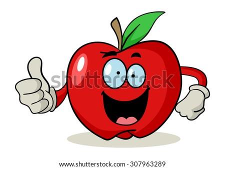 Cartoon character of an apple doing thumbs up - stock vector