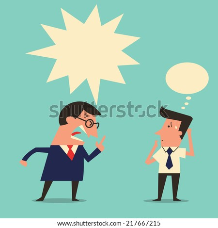 Cartoon character of angry boss being complaining to subordinate worker with copyspace. Simple design with easy to write your text or change color.  - stock vector