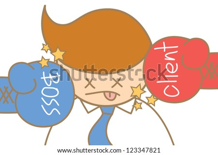 cartoon character of business man knock out by boss and client - stock vector