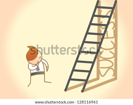 cartoon character of business man question on success ladder - stock vector