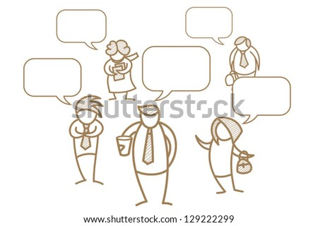 cartoon character of business men and women with speech bubble - stock vector