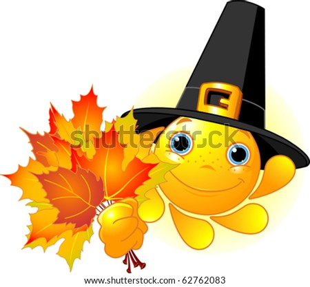 Cartoon Character of Cute  Sun with pilgrim hat holding autumn leaves - stock vector