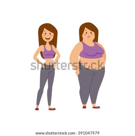 Cartoon character of fat woman and lean girl, fat woman dieting fitness. Fat woman standing stands next to her thinner clone cartoon vector flat illustration.  - stock vector