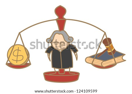 cartoon character of judge making decision money and law - stock vector