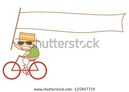 cartoon character of man holding a white long advertising flag  riding bike - stock vector