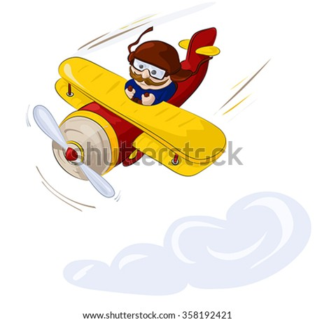 Cartoon character. Pilot flying by plane in the sky. Illustration, vector - stock vector