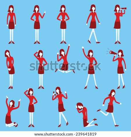 Cartoon character set of businesswoman in various poses, trendy flat design with simple style.  - stock vector
