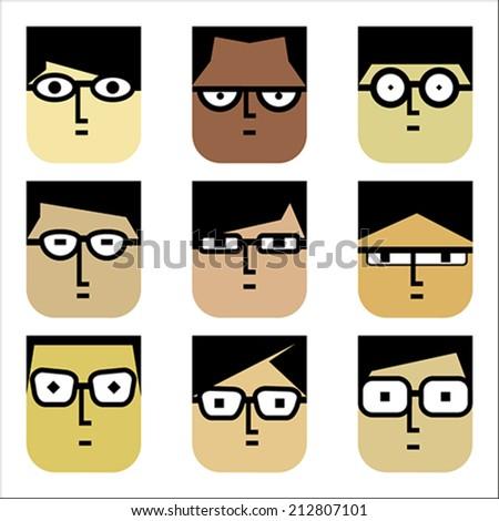 Cartoon Character...Set of 9 Faces... - stock vector