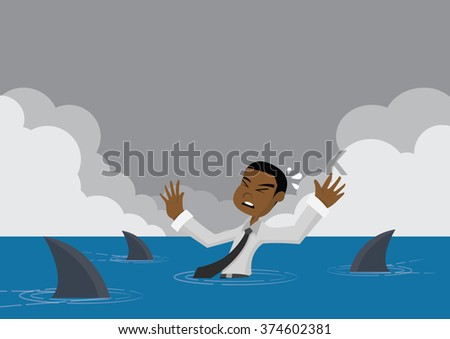 Cartoon character, Sharks swim coming for African businessman who is missed overboard, vector eps10 - stock vector