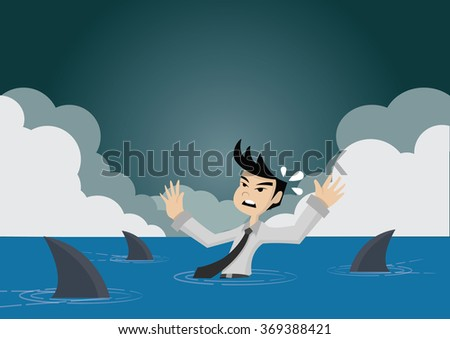 Cartoon character, Sharks swim coming for businessman who is missed overboard, vector eps10 - stock vector