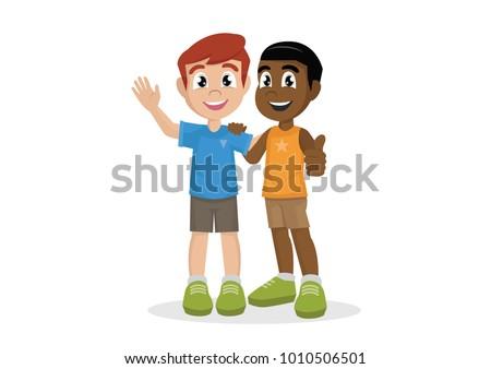 Cartoon Character Two Boys Huggingcute Best Stock Vector 1010506501