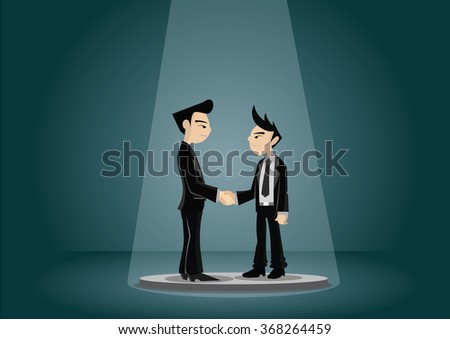 Cartoon character, Two businessman shake hand for Business Terms, vector eps10 - stock vector