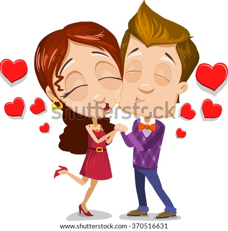 cartoon character vector set young couple stock vector royalty free rh shutterstock com People Kissing in Middle School Cute Cartoon People Kissing