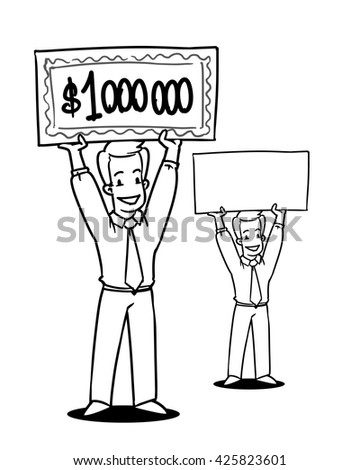Cartoon character with a check for one million dollars. Smiling young businessman showing blank signboard.  - stock vector