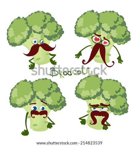 Cartoon character with a mustache with many expressions of Broccoli - stock vector