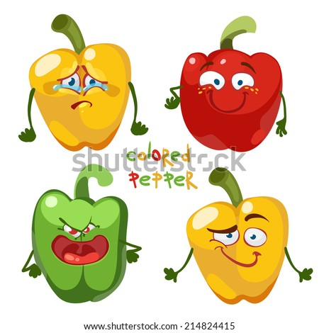 Cartoon character with a mustache with many expressions of colored paprika (pepper) - stock vector