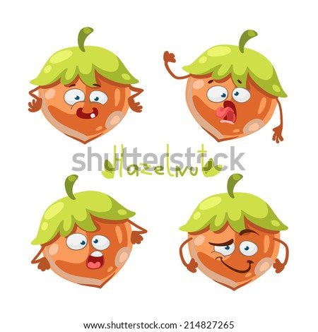 Cartoon character with a mustache with many expressions of hazelnut - stock vector
