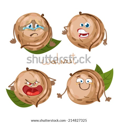 Cartoon character with a mustache with many expressions of walnut - stock vector